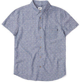 tentree Mancos LS Button Up Shirt Herr heathered dark denim-tree dobby white